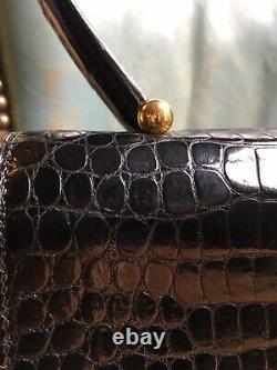 Sac HERMES crocodile vintage etat neuf