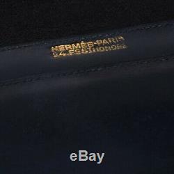 Sac HERMES vintage modèle Palonnier en cuir box bleu marine