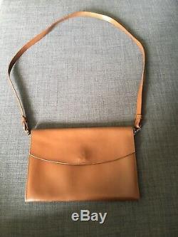 Sac Hermès Authentique vintage Porte Épaule Pochette Beige En Cuir