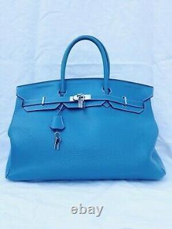 Sac Hermes Birkin cuir taurillon clemence bleu Hermes birkin 40 année 2009