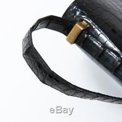 Sac Hermès Constance 24 vintage en Crocodylus Porosus noir en très bon état