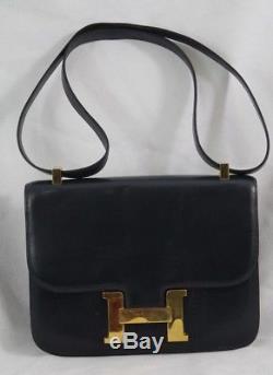 Sac Hermes Constance Vintage cuir Bleu marine. // Hermes Vintage Constace bag