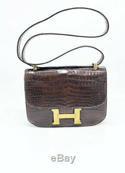 Sac Hermes Constance crocodile marron vintage