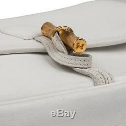 Sac Hermès Duffle bamboo en cuir blanc en très bon état vintage