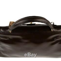 Sac Hermès KElly 32 vintage en box marron, bijouterie dorée en bon état