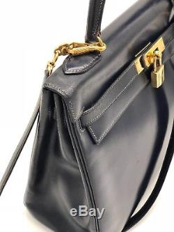 Sac Hermes Kelly 32 CM Marine Complet Vintage Et Authentique