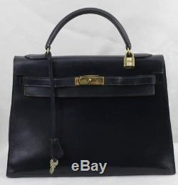 Sac Hermes Kelly 32 Vintage cuir bleu marine