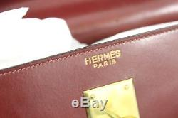 Sac Hermes Kelly 35 Vintage. Cuir bordeaux