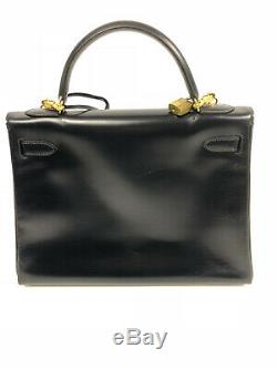 Sac Hermès Kelly bleu marine 32 cm vintage