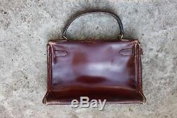 Sac Hermès kelly bordeaux couture sellier vintage Hermes kelly red bag 29 cm