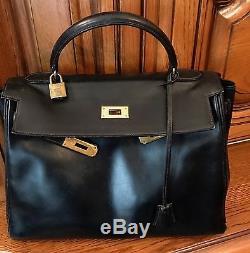 71b6811932 Sac Kelly Hermes Vintage Box 32 Cm Noir