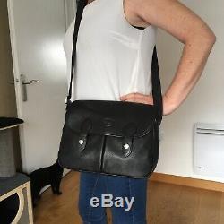 Sac LONGCHAMP vintage Bandoulière Cuir Noir Grainé 30x21cm Original Bag