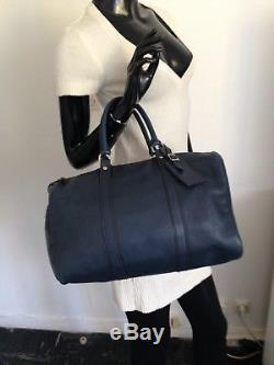 Sac Longchamp VINTAGE En Cuir De Veau Foulonné Bleu Marine Porte Monnaie Offert