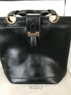 Sac Vintage Hermès Berry cuir noir