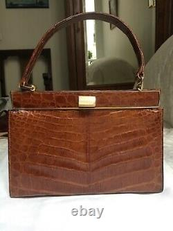 Sac Vintage PEDRO MAYORGA vrai Crocodile HEPBURN Style Real Croco Skin Handbag