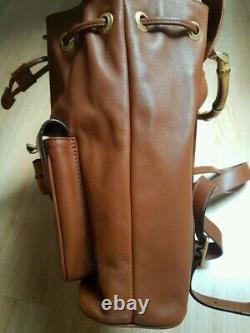 Sac à dos Gucci Bamboo vintage cuir marron