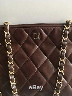 Sac à main Chanel vintage 1986 en cuir marron