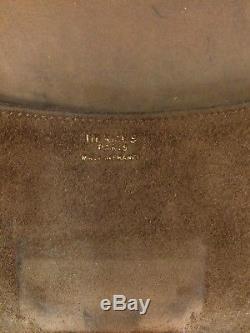 Sac à main Pochette HERMES vintage modèle Cécile en cuir et daim couleur chamois