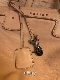 Sac à main Vintage Années 2000 Céline En Cuir De Chèvre Beige 38x35x21cm