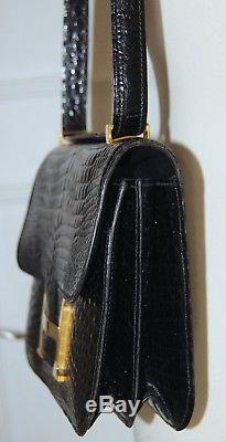 Sac à main besace porté épaule en cuir de croco d'élevage, fermoir H vintage