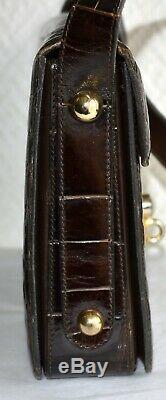 Sac à main petite besace en cuir de croco d'élevage verni vintage