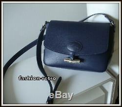 Sac bandoulière Longchamp Roseau cuir bleu bag borsa vintage