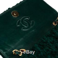 Sac de soirée Chanel vintage en velours et cuir vert en très bon état