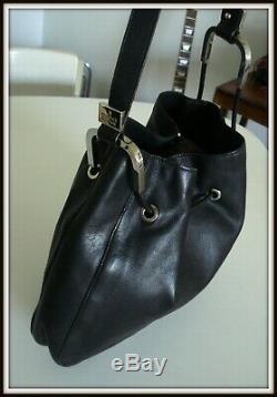 Sac épaule Gucci made Italie cuir noir bag borsa vintage