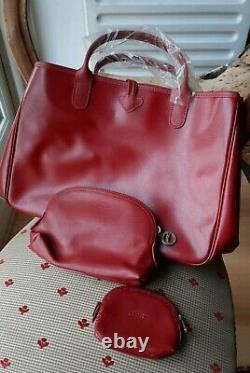 Sac longchamp roseau rouge NEUF avec porte monnaie et porte feuille