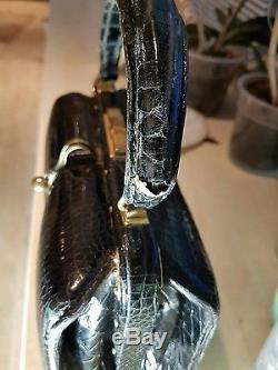Sac à main vintage Fernande DESGRANGES cuir croco état exceptionnel introuvable