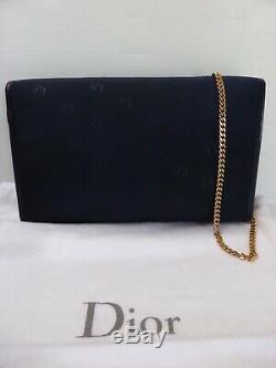 Sac pochette baguette cuir marine & toile monogramme CHRISTIAN DIOR vintage bag
