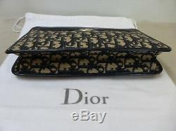 Sac pochette cuir marine & toile monogram CHRISTIAN DIOR authentique vintage bag