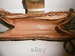 Sac pochette vintage CELINE en osier tressé et cuir anse chaînette maille dorée