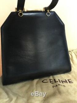 Sac pochette vintage Céline Paris cuir noir
