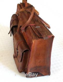 Sac sacoche besace d'artisan vintage tout cuir cousu sellier 46 x 30 cm