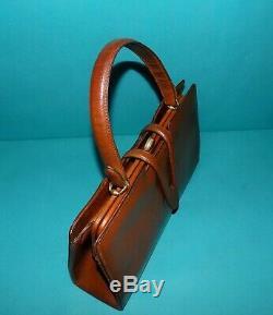 Sac vintage LANCEL en cuir marron doublé cuir porté main