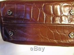 Sac vintage MULBERRY cuir marron façon croco