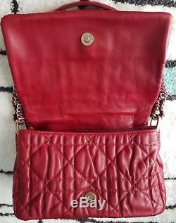 Superbe Sac Christian Dior Cuir Agneau Rouge Vintage TBE