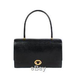 Superbe Sac Hermès Boutonnière vintage en lézard noir en très bon état vintage
