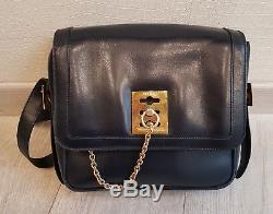 Superbe Sac Porté Épaule Céline Vintage En Cuir Bleu Nuit / Hand Bag Céline