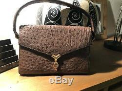 Superbe sac à main hermès Vintage modèle Cordelière en autruche marron