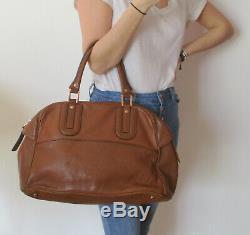 T. Beau grand sac porté main vintage LONGCHAMP en cuir cognac en TBE