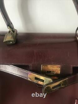 Très beau Sac Hermès Kelly 32 VINTAGE en CUIR BOX AUTHENTIQUE