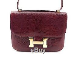 Vintage Sac A Main Hermes Constance 24 Cuir De Lezard Bordeaux Lizard Purse Bag