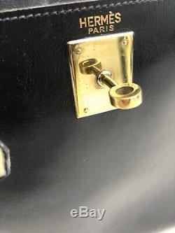 VINTAGE SAC A MAIN HERMES KELLY 28 ReTOURNE CUIR BOX BLUE LEATHER BAG 7500