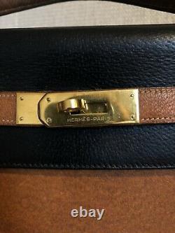 VINTAGE Sac Hermès Kelly 32 en CUIR Noir Brun AUTHENTIQUE Birkin Vuitton Dior