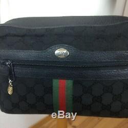 Vintage Gucci Sac à Main Pochette et Bandoulière Toile et Cuir Noir GG