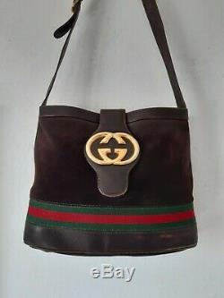 Vintage Joli Sac Gucci Logo GG en daim et Cuir Gucci Vintage Suede Leather Bag