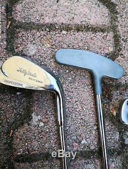 Vintage Magnifique Sac De Golf Cuir Vert LACOSTE + Chariot Happy Golf + 8 Clubs