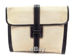 Vintage Pochette A Main Hermes Jige Gm 32cm Sac En Toile & Cuir Clutch Bag 2100